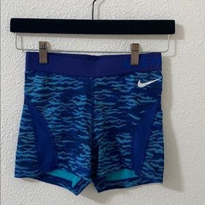 Blue Nike pro spandex shorts